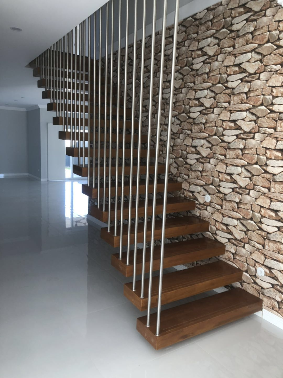 Modern Stairs With Stainless Railing