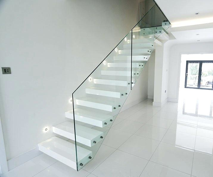 Floating Stairs With Wood Tread and Glass Fence