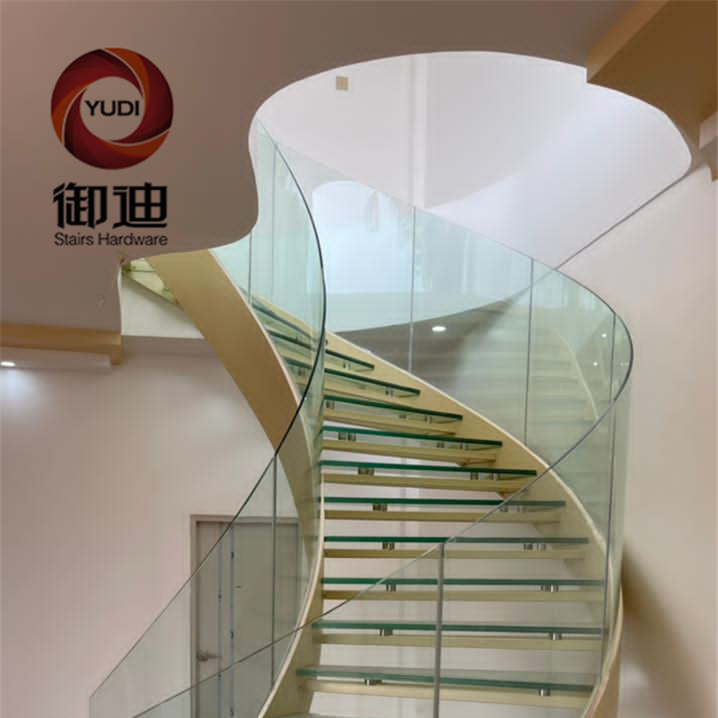 Interior Used Laminated Glass Residential Curve Staircases