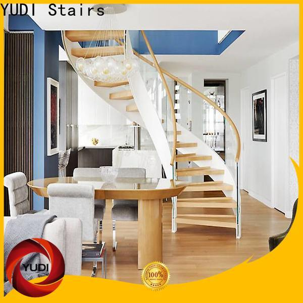 YUDI Stairs Customized wood curved stairs cost for indoor