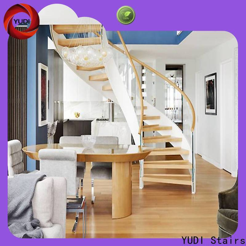 YUDI Stairs curved glass staircase factory price for villa