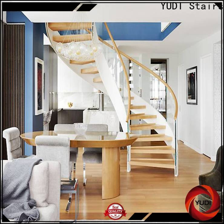 YUDI Stairs wood curved stairs price for house
